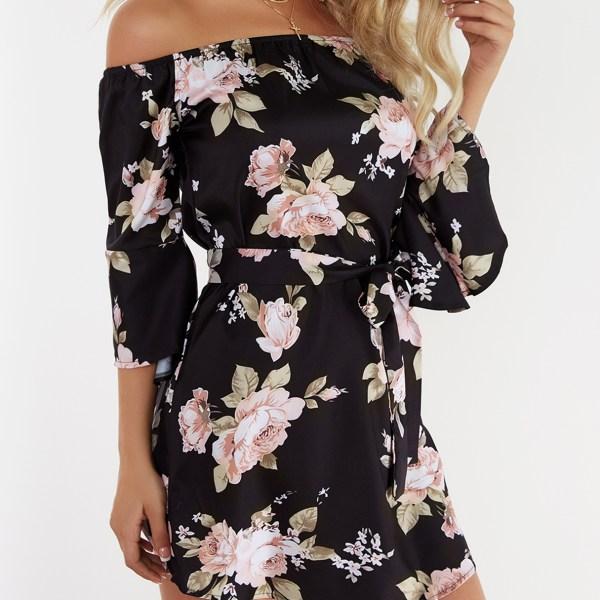 Black Lace-up Design Floral Print Off The Shoulder Long Sleeves High-waisted Dress 2