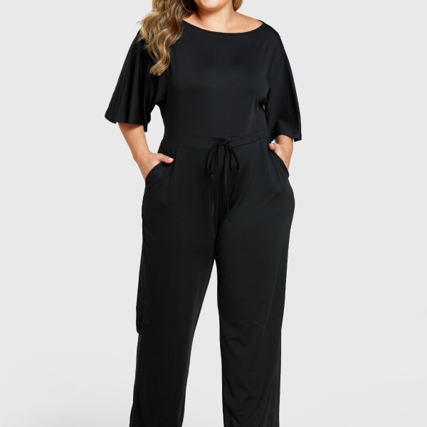Plus Size Round Neck Drawstring Waist Jumpsuit 2