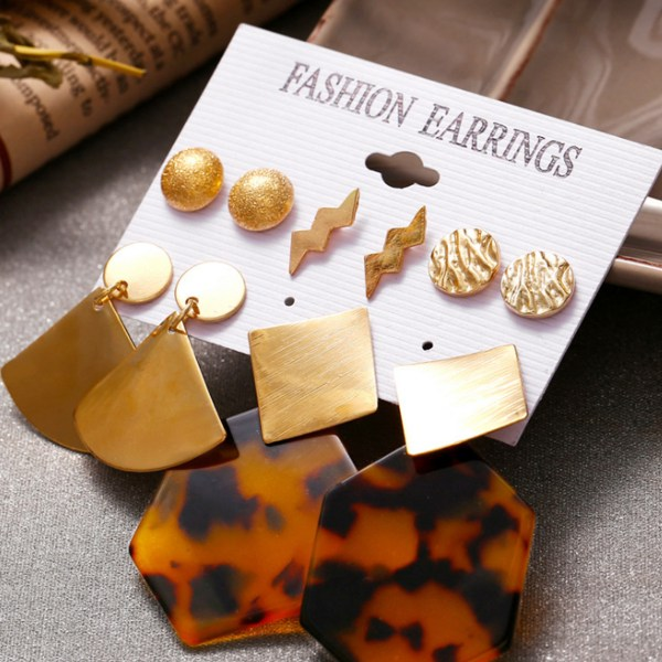 Gold Geometric Leopard Acrylic 5 pairs of Earring Set 2