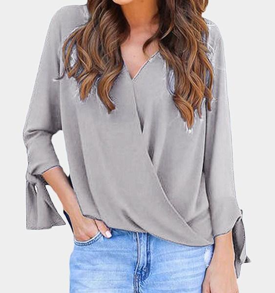 Grey Crossed Front Design V-neck Self-tie Design Long Sleeves T-shirts 2