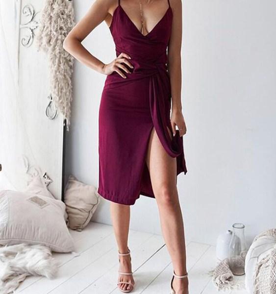 Burgundy Belt Design Slit Hem V-neck Sleeveless Dress 2