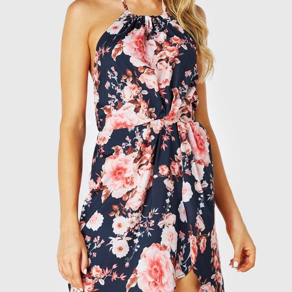 Black Random Floral Backless Design Halter Sleeveless Dress 2