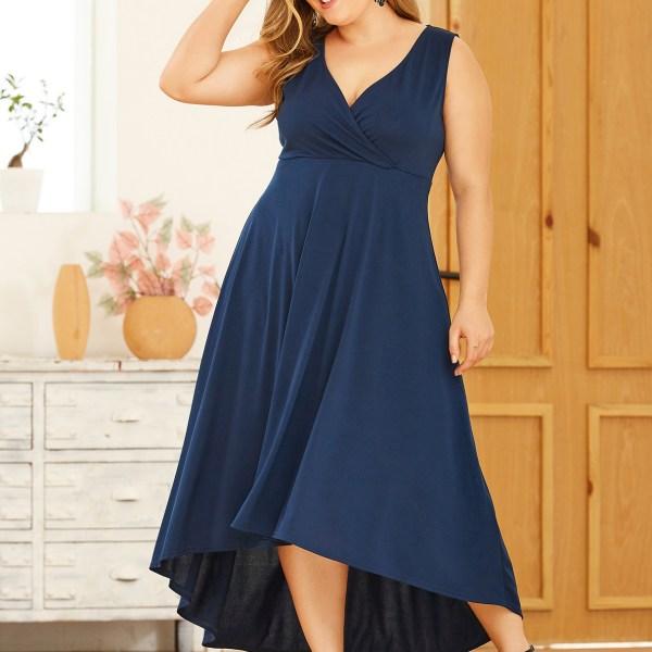 YOINS Plus Size Navy Deep V Neck Wrap Sleeveless Dress 2