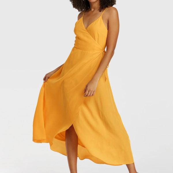 YOINS Yellow Spaghetti Strap Wrap Design Sleeveless Dress 2