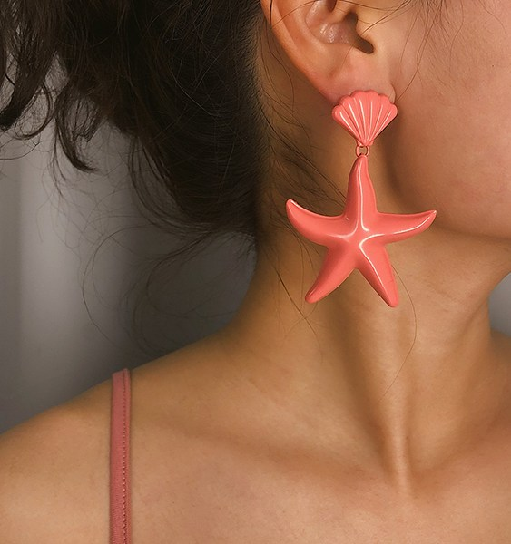 Pink Exaggerated Shell Starfish Pandent Earrings 2