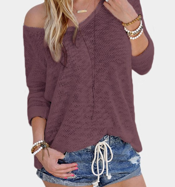 Pink Sexy V Neck Long Sleeves Knitted Tee 2