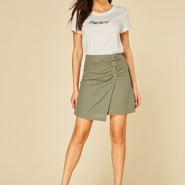 YOINS Army Green Button Design Mini Skirt 2