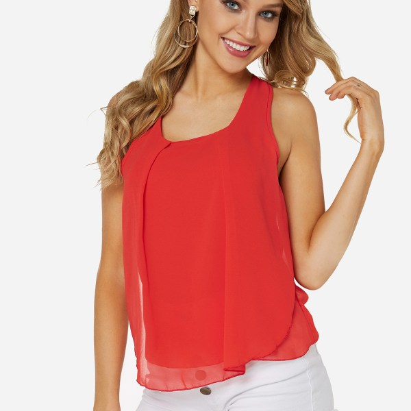 Red chiffon Scoop Neck Camis 2