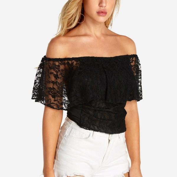 Black Backless Design Off The Shoulder Short Sleeves Lace Top 2