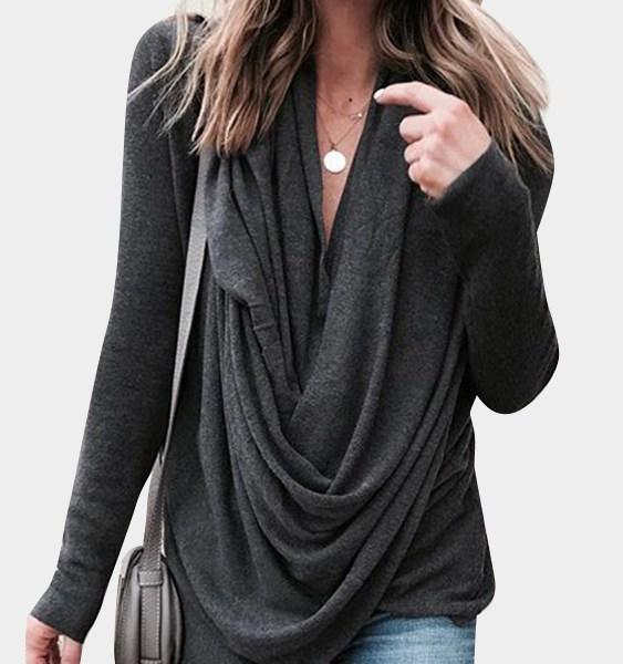Dark Grey Deep V-neck Pleated Design Long Sleeves Slit Hem Casual T-shirt 2