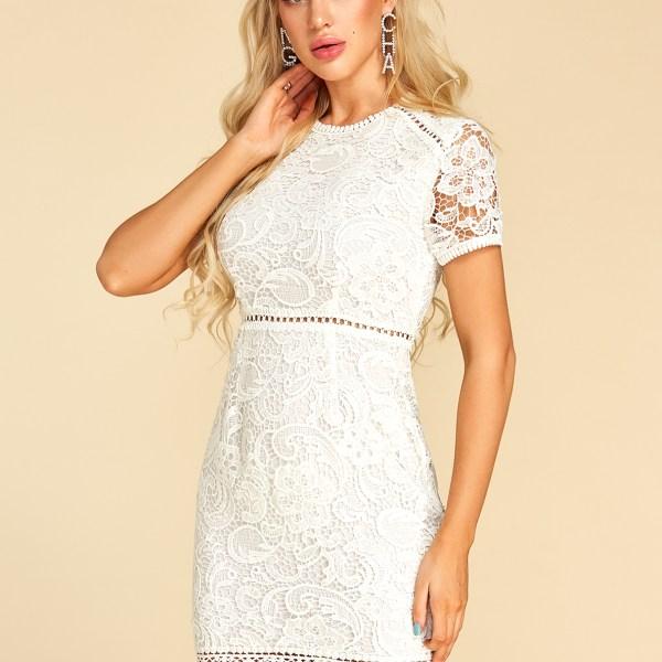 YOINS White Hollow Design Round Neck Short Sleeves Dress 2