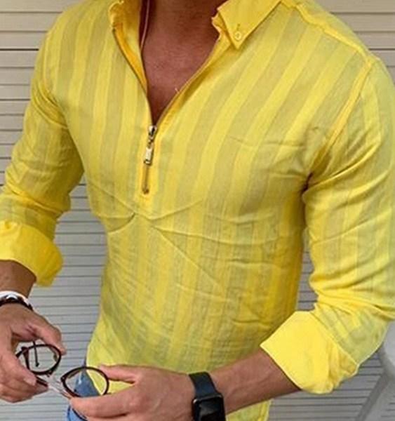 Men Fashion Striped Long Sleeve Half Zipper Casual Shirt 2
