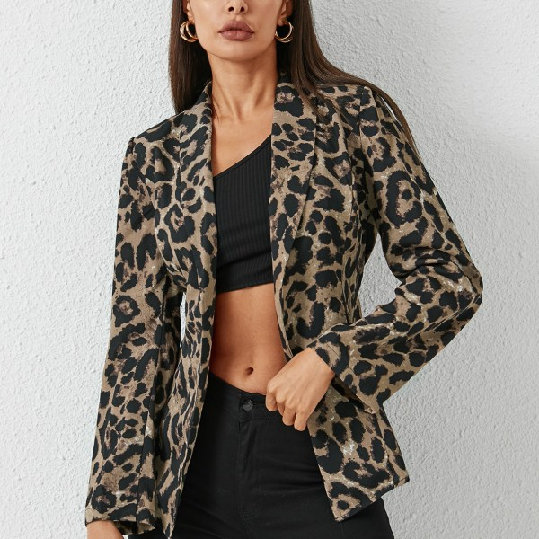 YOINS Leopard Lace-up Design Belted Lapel Collar Blazer 2