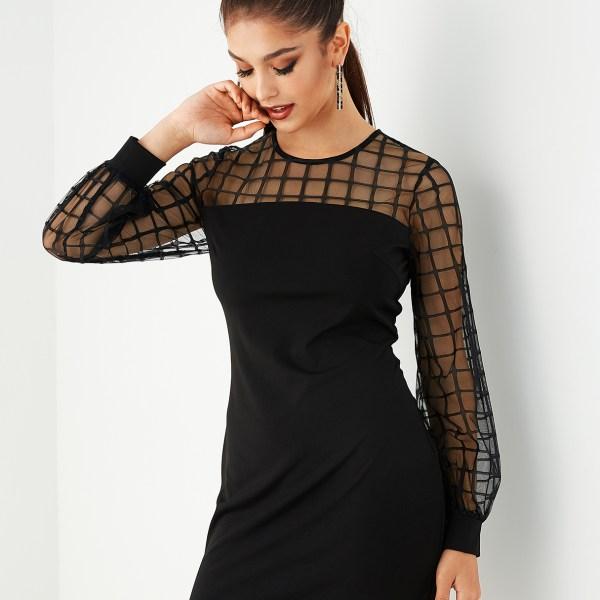 Black Mesh Grid Print Patchwork Dress 2