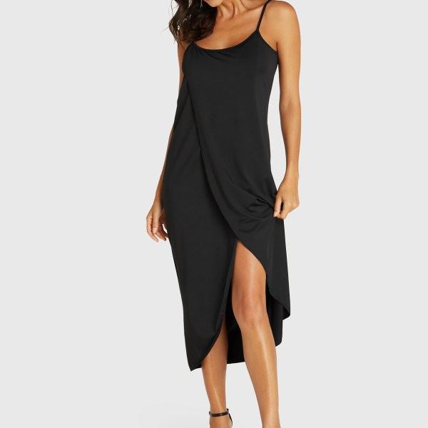 Black Spaghetti Strap Irregular Hem Sleeveless Dress 2