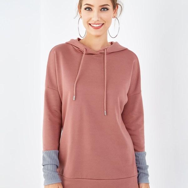 Pink Long Sleeves Patch Desing Hoodie 2