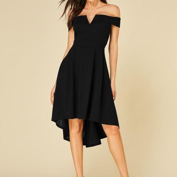 YOINS Black Off The Shoulder Ruffle Trim Dress 2