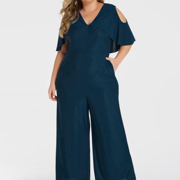YOINS Plus Size Blue Ruffle Trim Cold Shoulder Overlay Jumpsuit 2