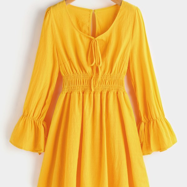 Yellow Pleated Details Lantern Sleeves Stretch Waistband Ruffle Hem Dress 2