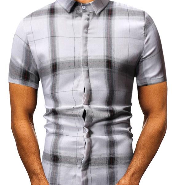 Men Black White Plaid Print Classic Collar Short Sleeve Shirts 2