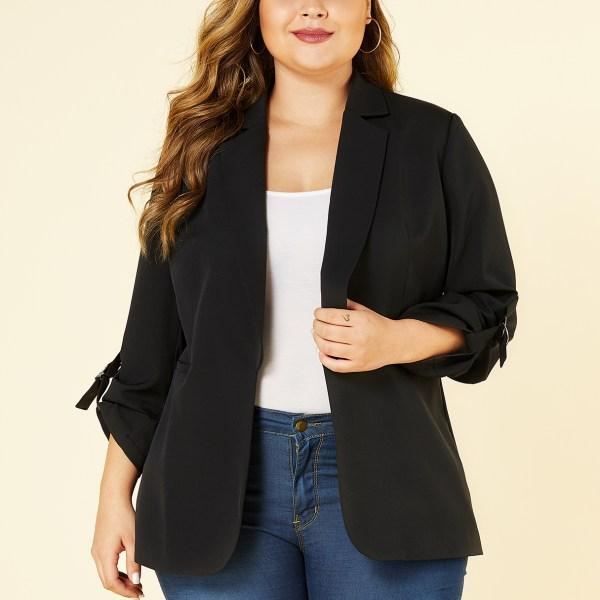YOINS Plus Size Black Lapel Collar Blazer 2