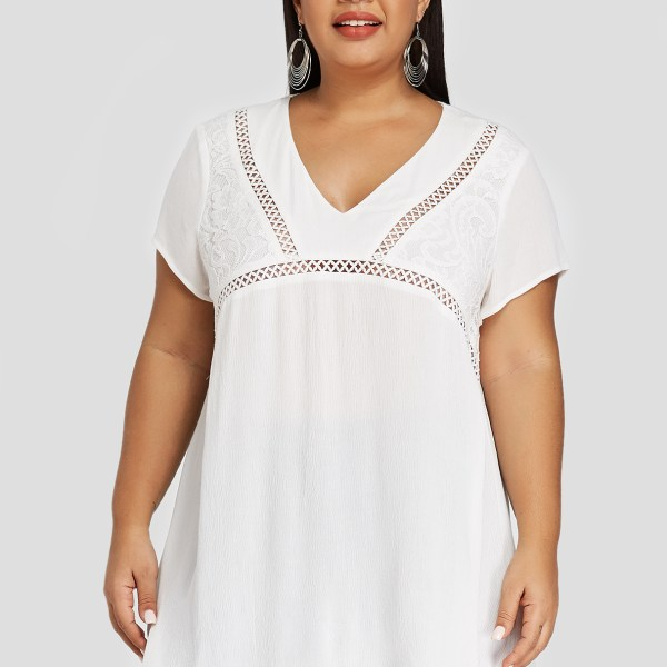 YOINS Plus Size White Lace Insert Hollow Design V-neck Blouse 2