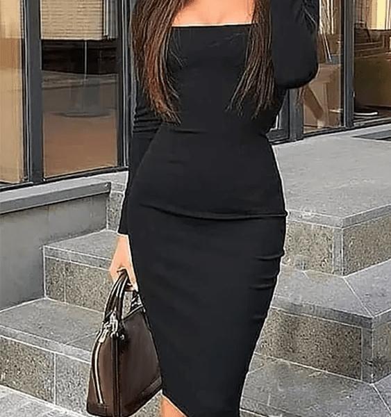 Black Square Neck Long Sleeves Bodycon Midi Dress 2