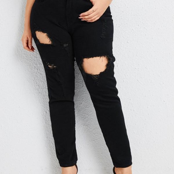 Plus Size Button Design Denim Ripped Pants 1