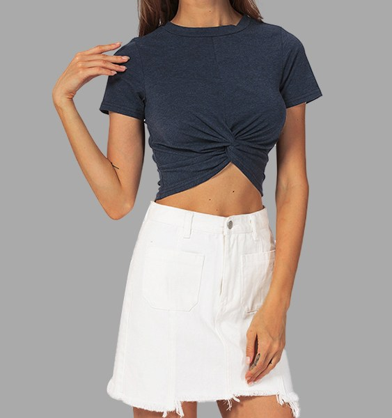 Navy Self-tie Short Sleeves Crop Top 2