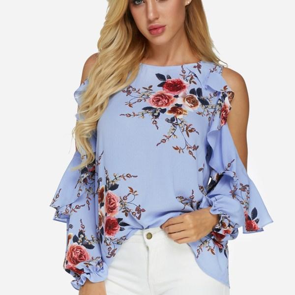 Blue Random Floral Print Cold Shoulder Long Sleeves Blouse 2