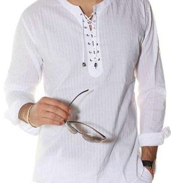 Men Lace Up Stripe Texture T-Shirts 1