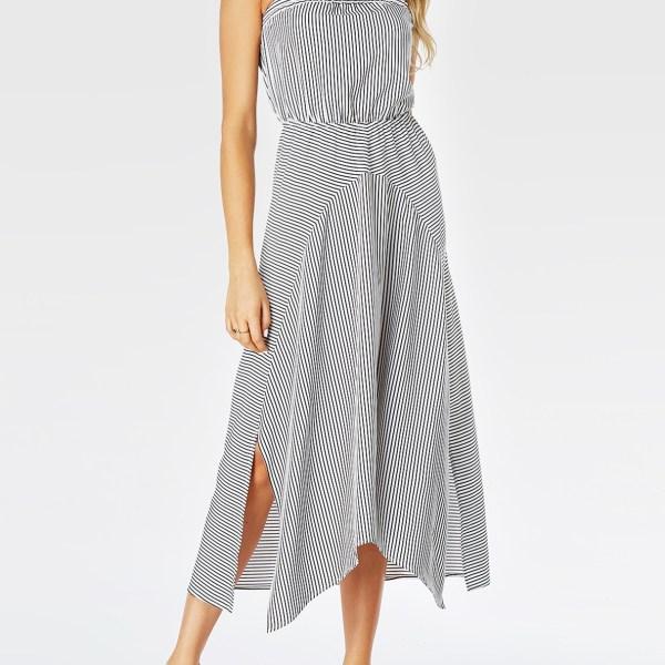 YOINS White Stripe Strapless Elastic Waist Slit Hem Dress 2