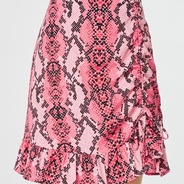 YOINS Pink Snake Print Ruffle Hem Bodycon Skirt 2