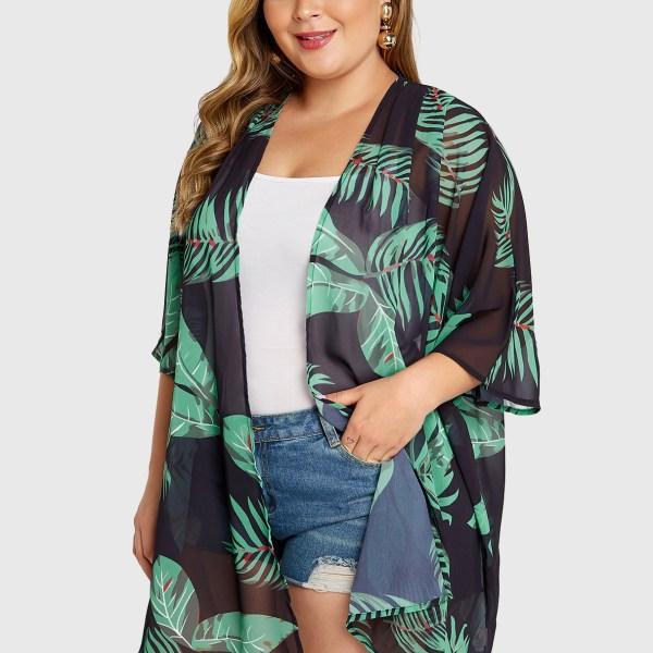 Plus Size Green Leaf Printed Half Sleeves Kimono 2