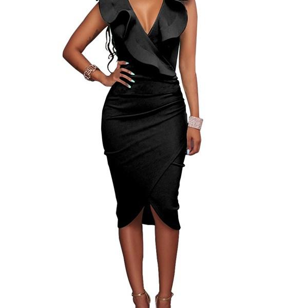 Black Crossed Front Design Zip Side Ruffle V-neck Midi Dress 2