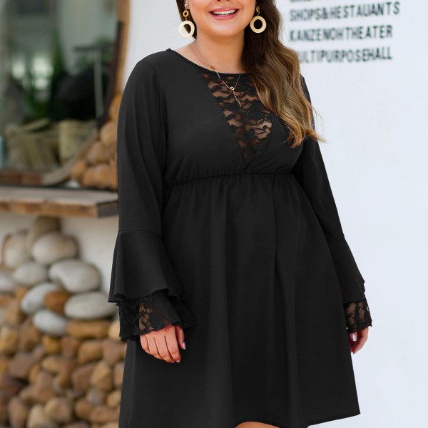 Plus Size Black Lace Insert Round Neck Dress 2