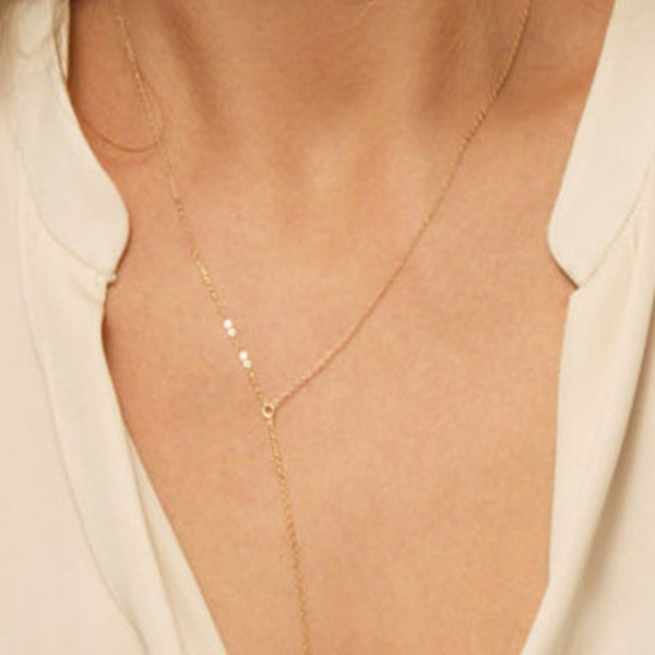 Gold Water Drop Chain Necklace 2