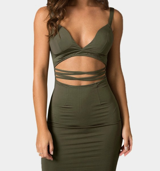 V Neck Cutout Sleeveless Bodycon Mini Dress 2