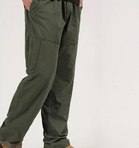 Men Pants Loose Trousers Cotton Cargo Straight Leg Work Bottoms Casual Pants 2