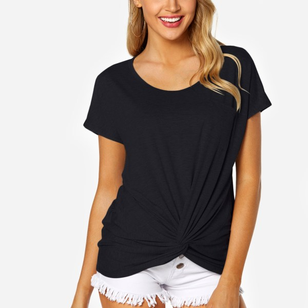 Black Round Neck Knot Design Chest Pocket T-shirt 2