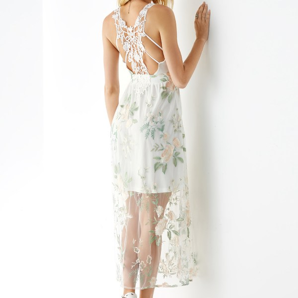 YOINS White Embroidered Backless Design Lace Insert Dress 2