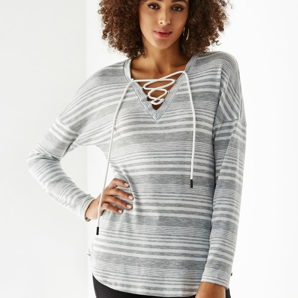 YOINS Grey Lace Up Design Stripe V-neck Long Sleeves Tee 2