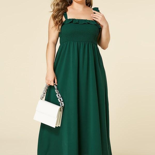 YOINS Plus Size Green Shirring Square Neck Sleeveless Dress 2