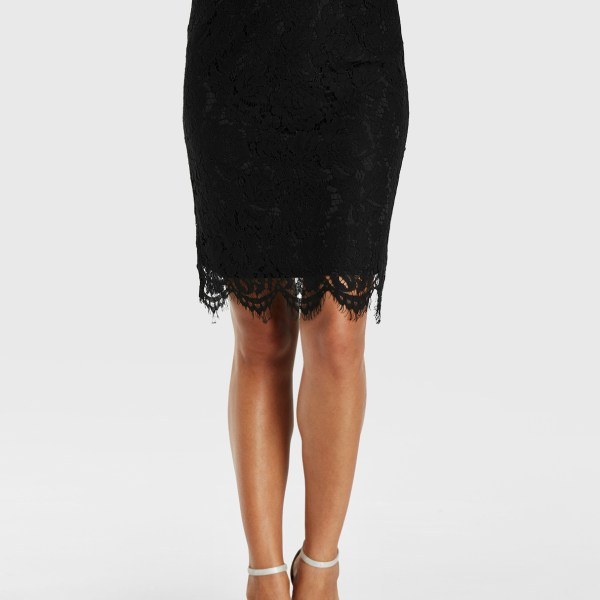 YOINS Black Lace Design With Lining Midi Skirt 2