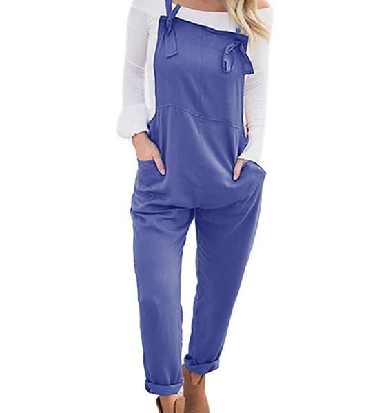 Blue Pockets Square Neck Sleeveless Jumpsuit 2