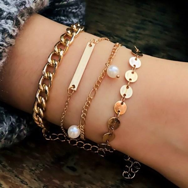 Gold Mixed Artificial Pearl Four-piece Bracelet Set 2