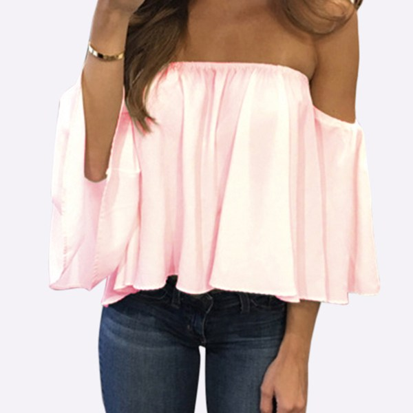 Pink Sexy Off Shoulder Loose Fit Blouse 2