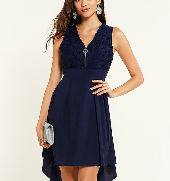 YOINS Navy Lace Insert Design Zip Front Sleeveless Dress 2