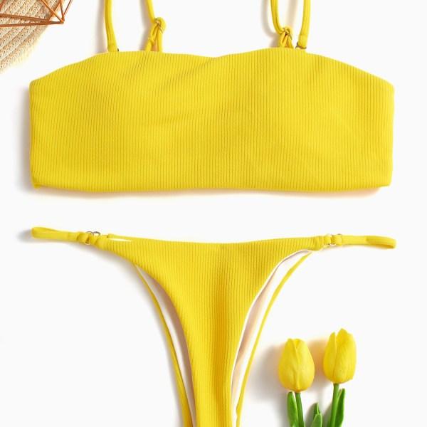 Yellow Sexy Square Neck Mid-waisted Bandeau Bikini Set 2
