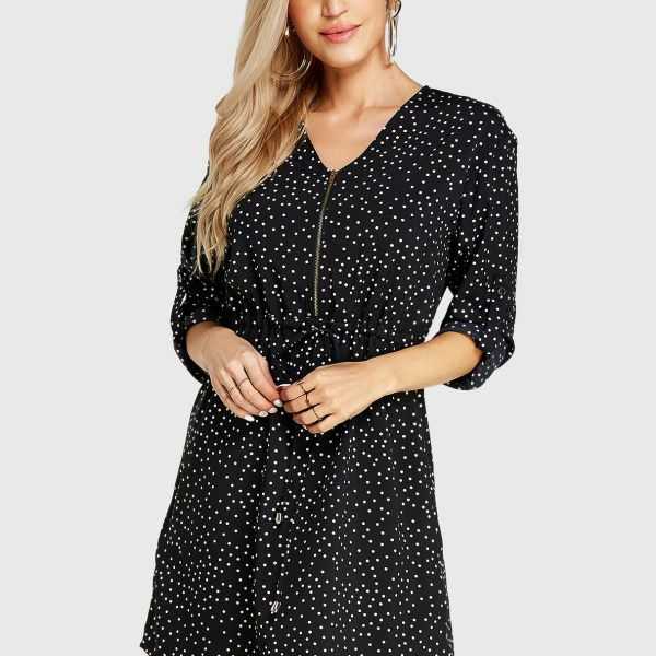 YOINS Black Polka Dot V-neck Long Sleeves Drawstring Waist Dress 2